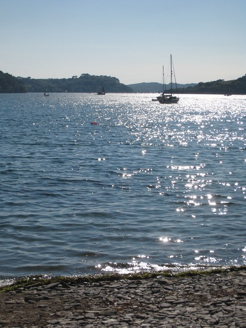 Late afternoon sun on the Helford River.