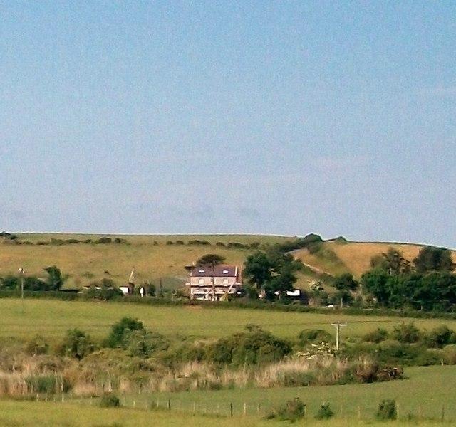 View across the valley of Afon Geirch towards Graeanfryn Farm