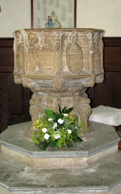 St Michael's church in Framlingham - baptismal font