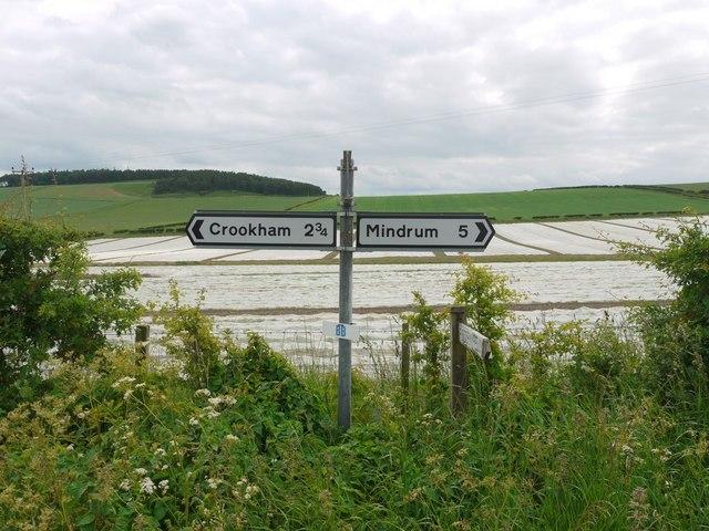Road sign near Branxton Moor