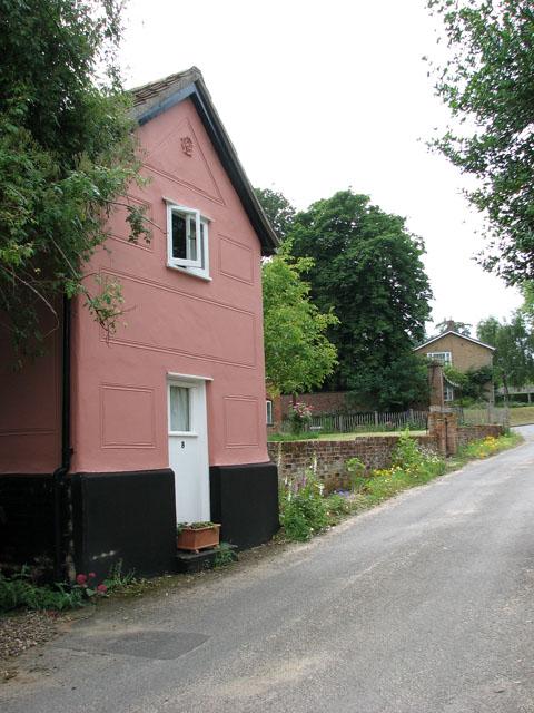 Pink cottage in Church Lane, Ufford