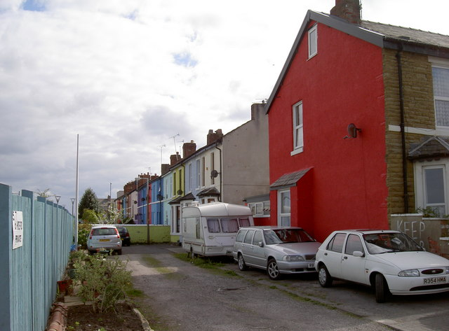 Brightly coloured terraced houses