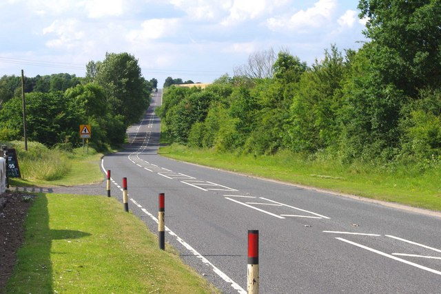 The A458 road to Shrewsbury