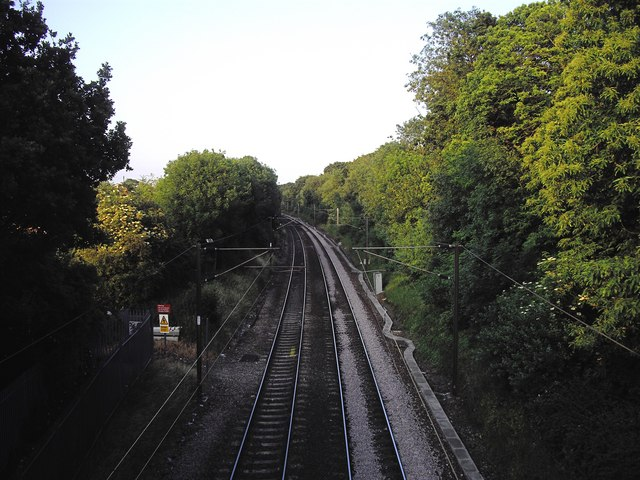 Railway line from bridge looking toward Colchester North