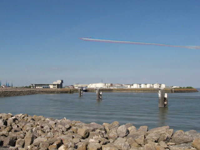 Red Arrows over Cardiff Bay Barrage