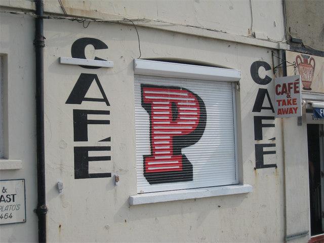 Painted Shutter on Café