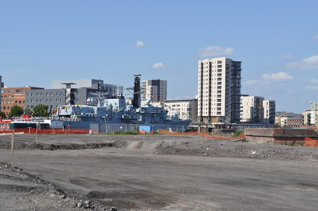The site of the new BBC Drama Centre with HMS Kent in the background