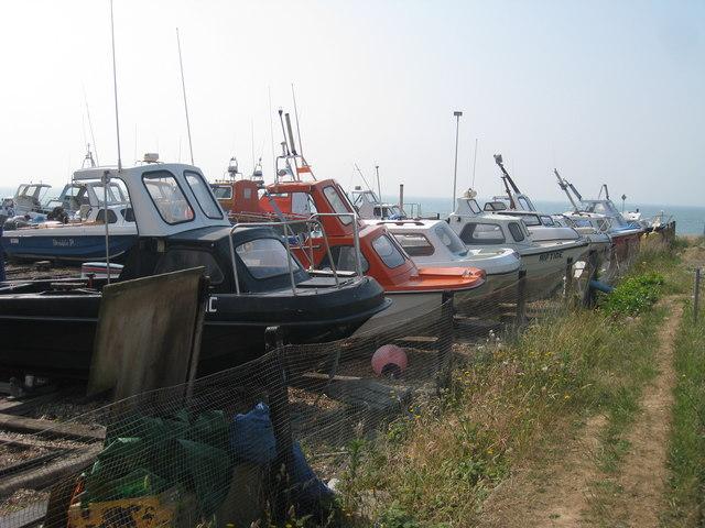 Boats next to Pelham Beach
