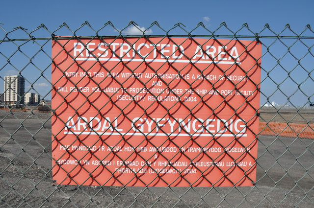 Restricted Area sign, site of new BBC Drama Centre