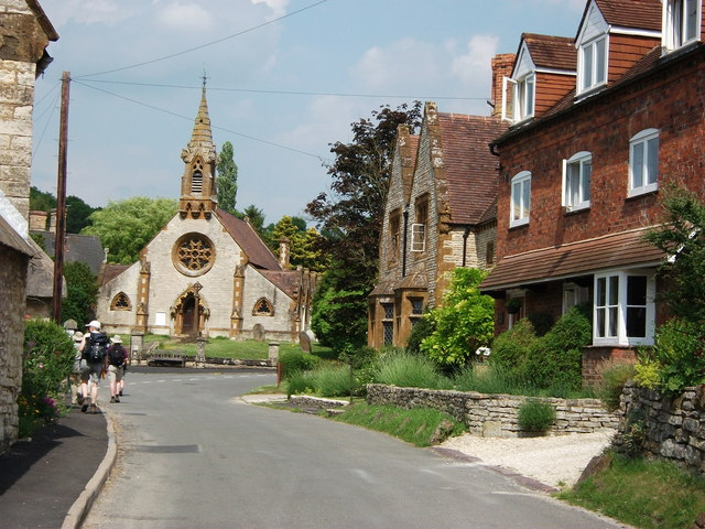 Cottages and church, Combrook