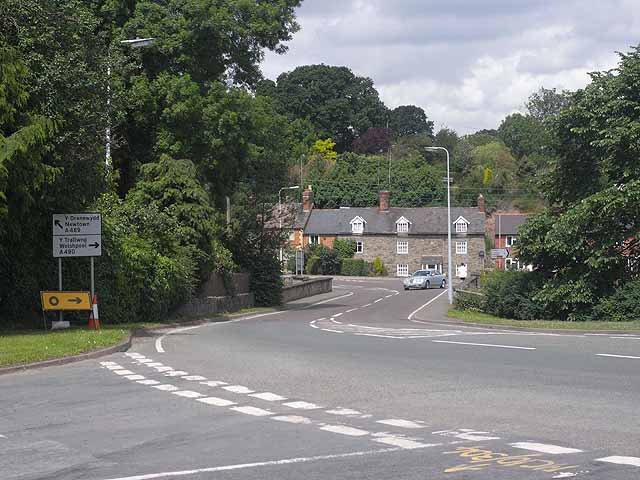 Main road junction at Church Stoke