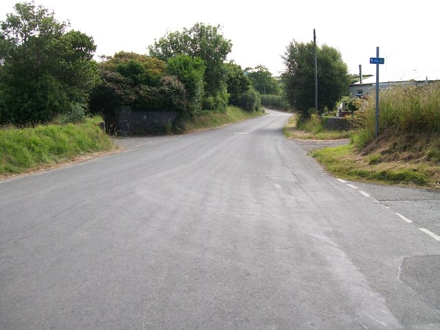 View west from Glanrhyd Crossroads along Cycle Route 41