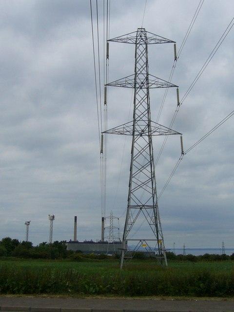 Electricity pylon near Cockenzie Power Station