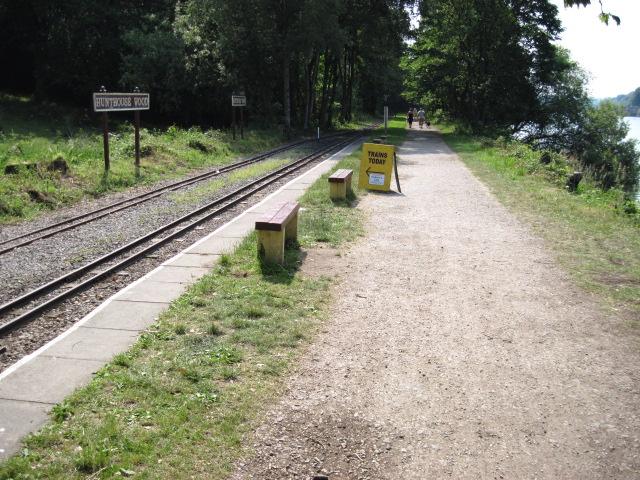 Footpath and narrow gauge rail track beside Rudyard Reservoir
