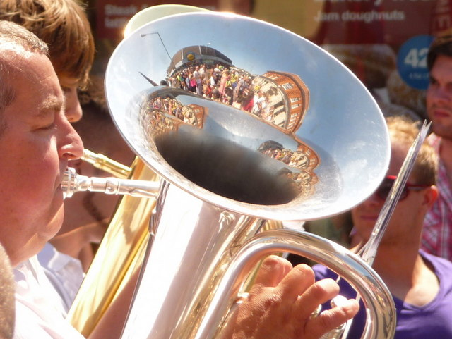 Winton: Lidl and HSBC reflected in a tuba