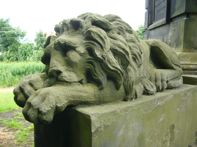 Dormant lion on Colonel Gardiner's Monument