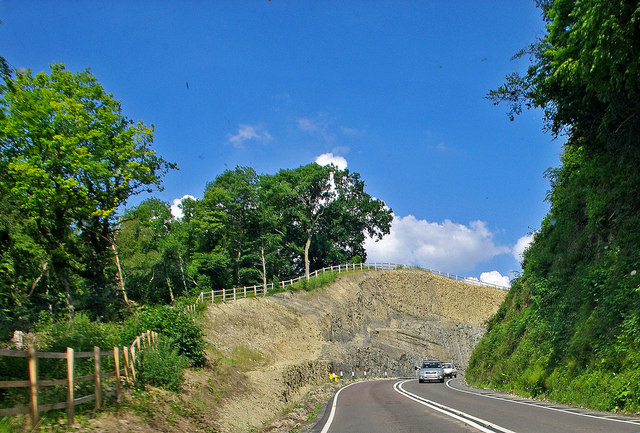 A258 road crossing Wenlock Edge at Harley Hill