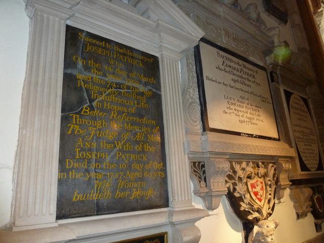 Memorials within St Peter's
