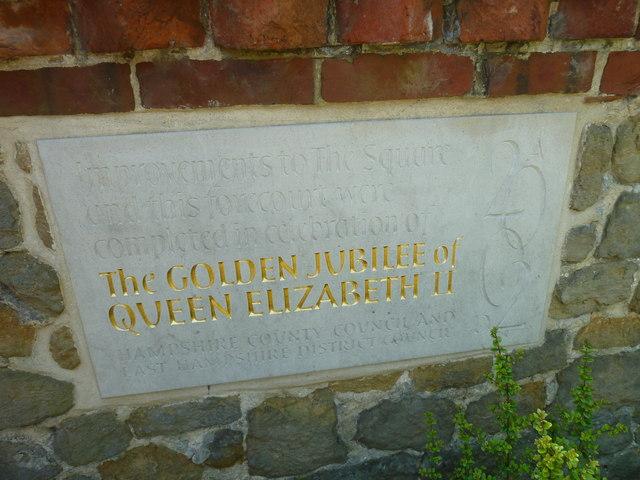 Commemorative stone outside St Peter's