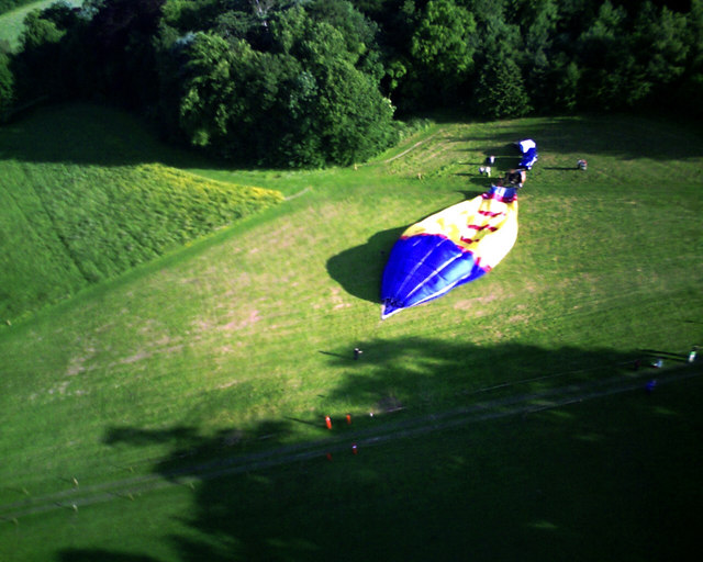 Airborne view of hot air balloon, Nowton Park