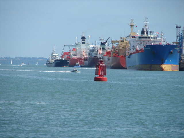 Cadland Port Channel Buoy and cargo ships