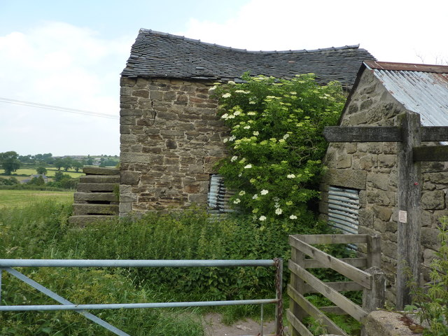 Barn, gate and footpath signs at Crich