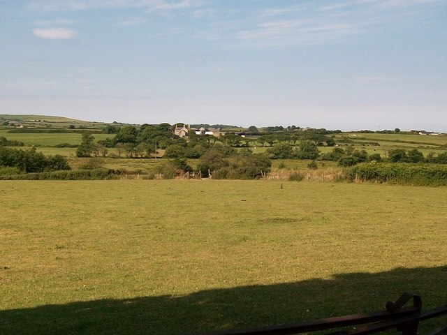 View across the Afon Geirch valley towards Madryn-isaf Farm