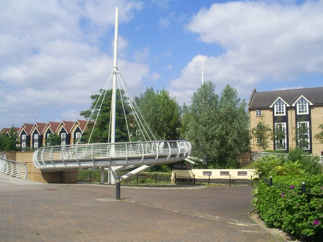 Modern Spiral Footbridge over the Grand Union canal