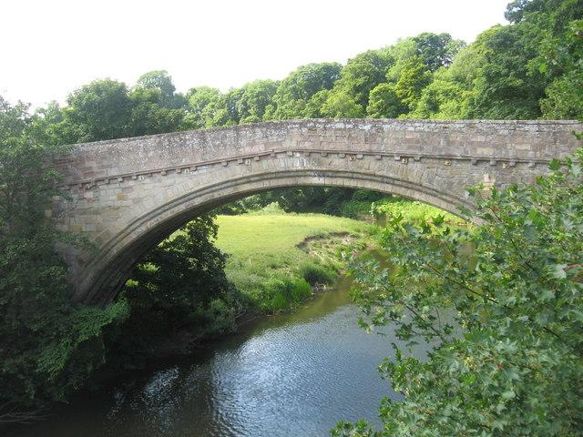 The old Twizel Bridge over the River Till