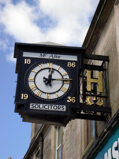 Mc Afee Solicitors Clock in Coatbridge