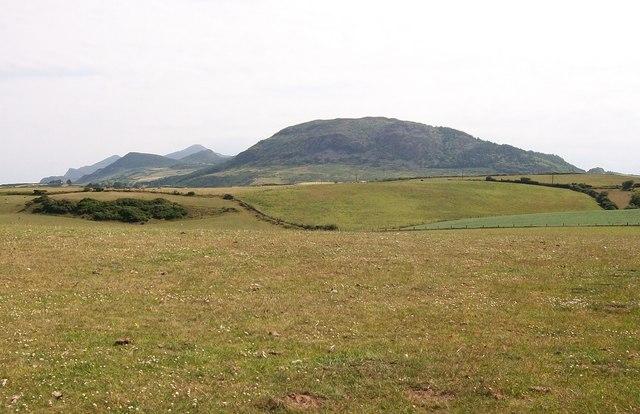 View northeastwards across farmland at Brynheulog