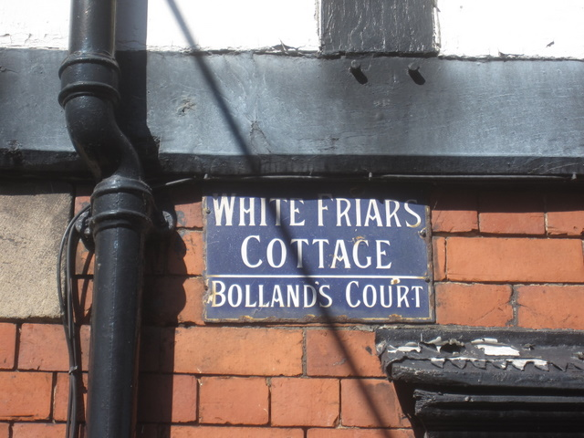 Enamelled name plate - White Friars Cottage