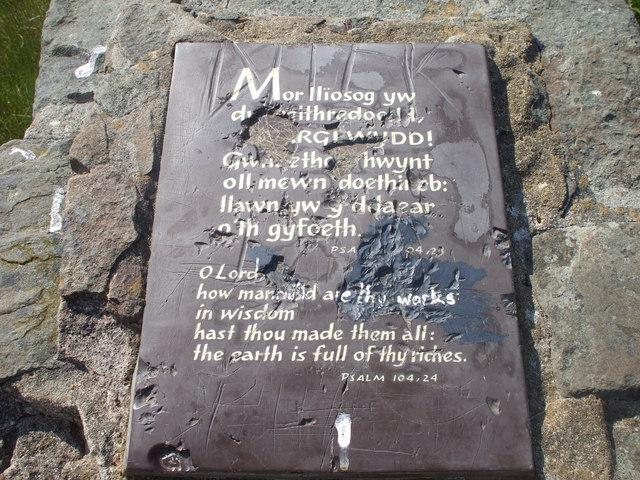 Plaque on stone pillar, Caerphilly Common