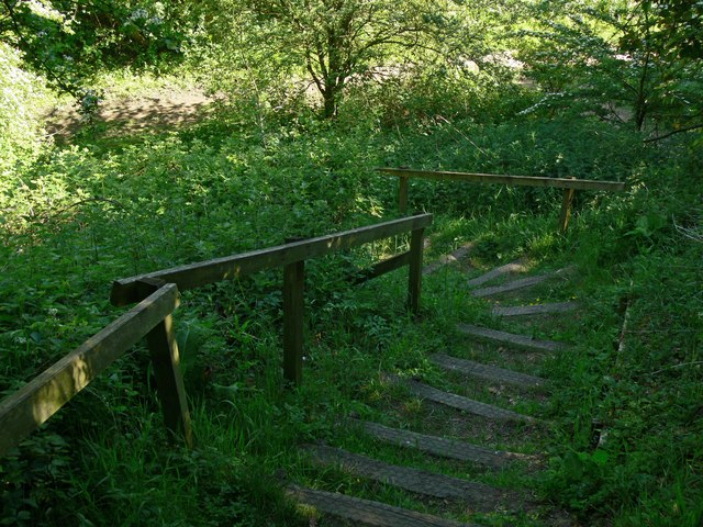 Steps down to the Leire Nature Walk