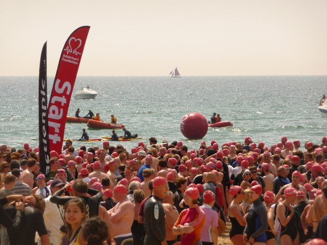 Bournemouth: start of the pier-to-pier swim