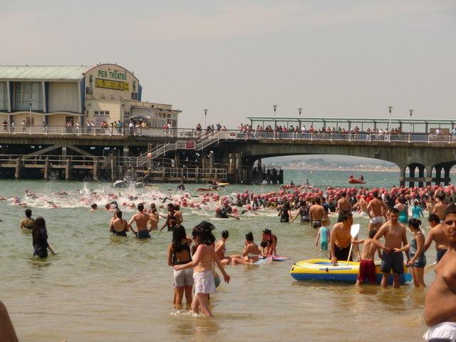 Bournemouth: the pier-to-pier swim gets underway