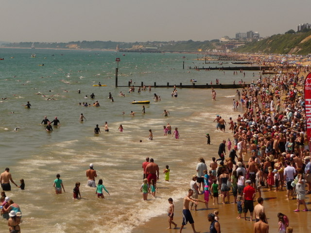 Boscombe: end of the pier-to-pier swim