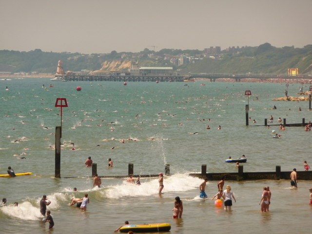Boscombe: view of the pier-to-pier swim