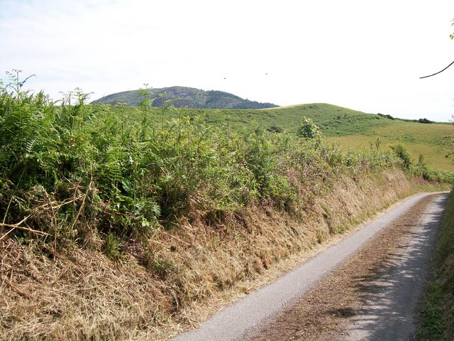 Sunken lane with Carn Boduan hill in the background