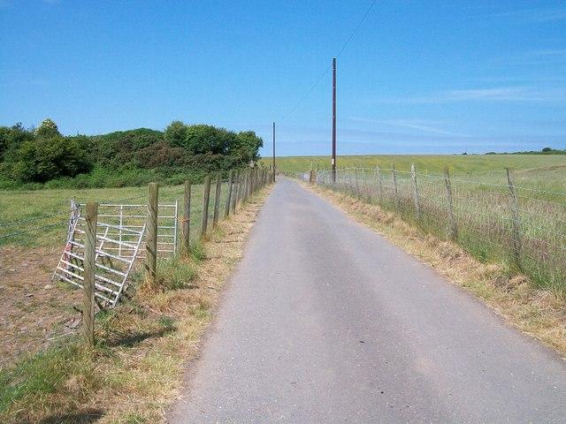 View west along the Mochras farm road