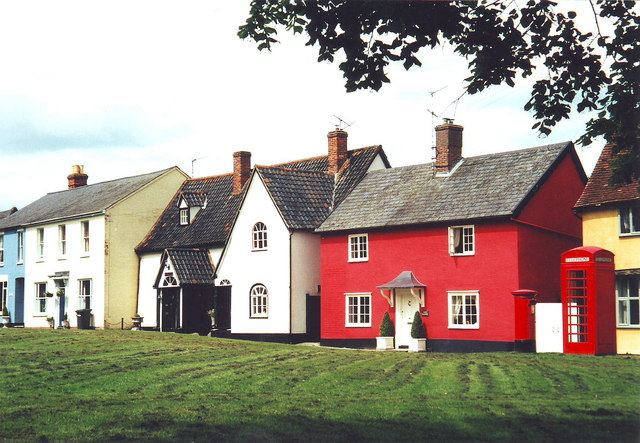 Colourful cottages at Hartest, Suffolk
