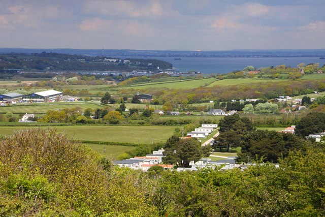 Holiday caravans by Whitecliff Bay