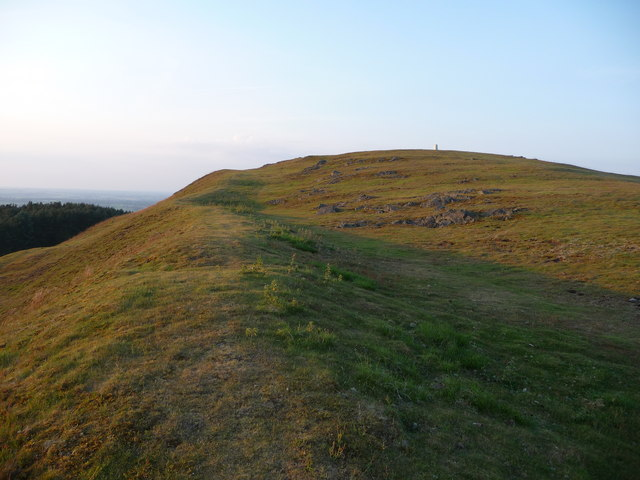 Earls Hill summit trig point from the western ramparts