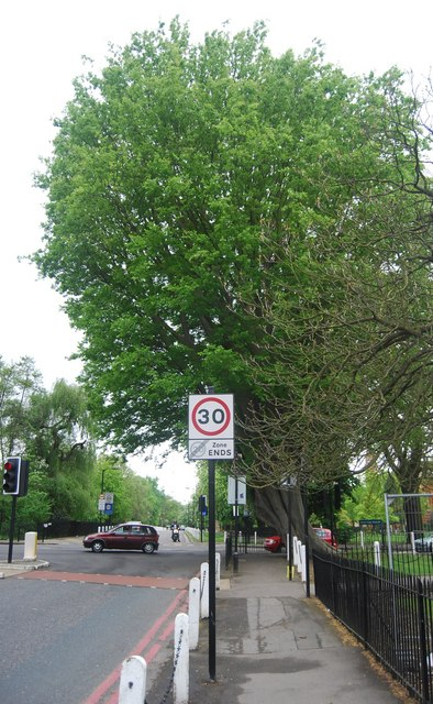 Speed limit sign, College Rd