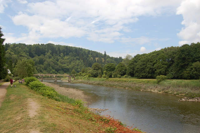 The River Wye at Tintern looking upstream towards Wireworks Bridge.