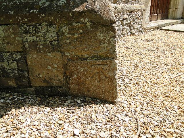 Bench Mark at Hillington church, Norfolk