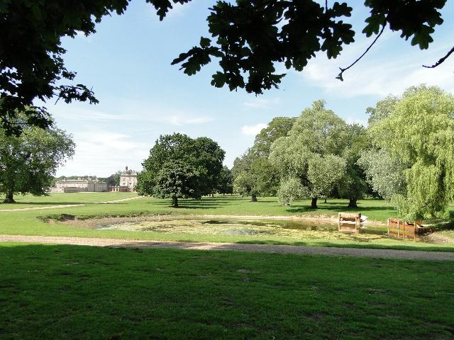 Pond and New Houghton Hall, Norfolk