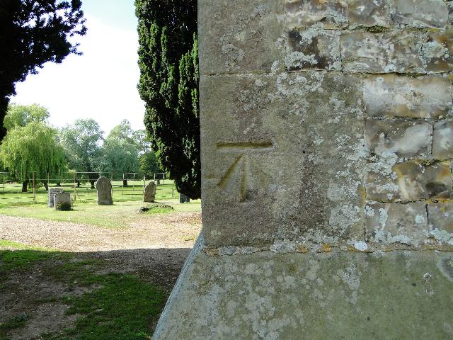 Bench Mark at New Houghton church