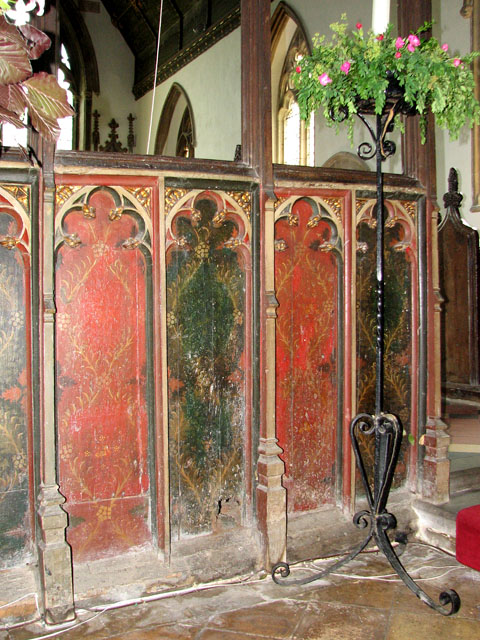 St Botolph's church in Grimston - rood screen panels