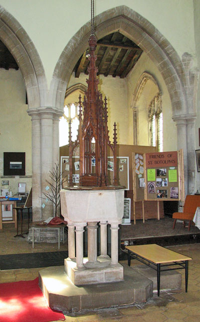 St Botolph's church in Grimston - C14 baptismal font
